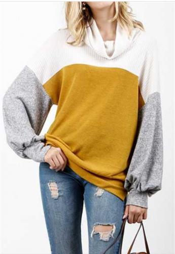 mustard color block sweatshirt