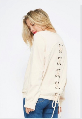 Beige sweatshirt lace up