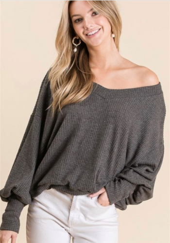 charcoal grey puff sleeve top