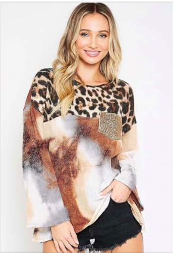leopard top with sequin pocket