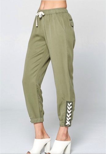 olive lace up pants side